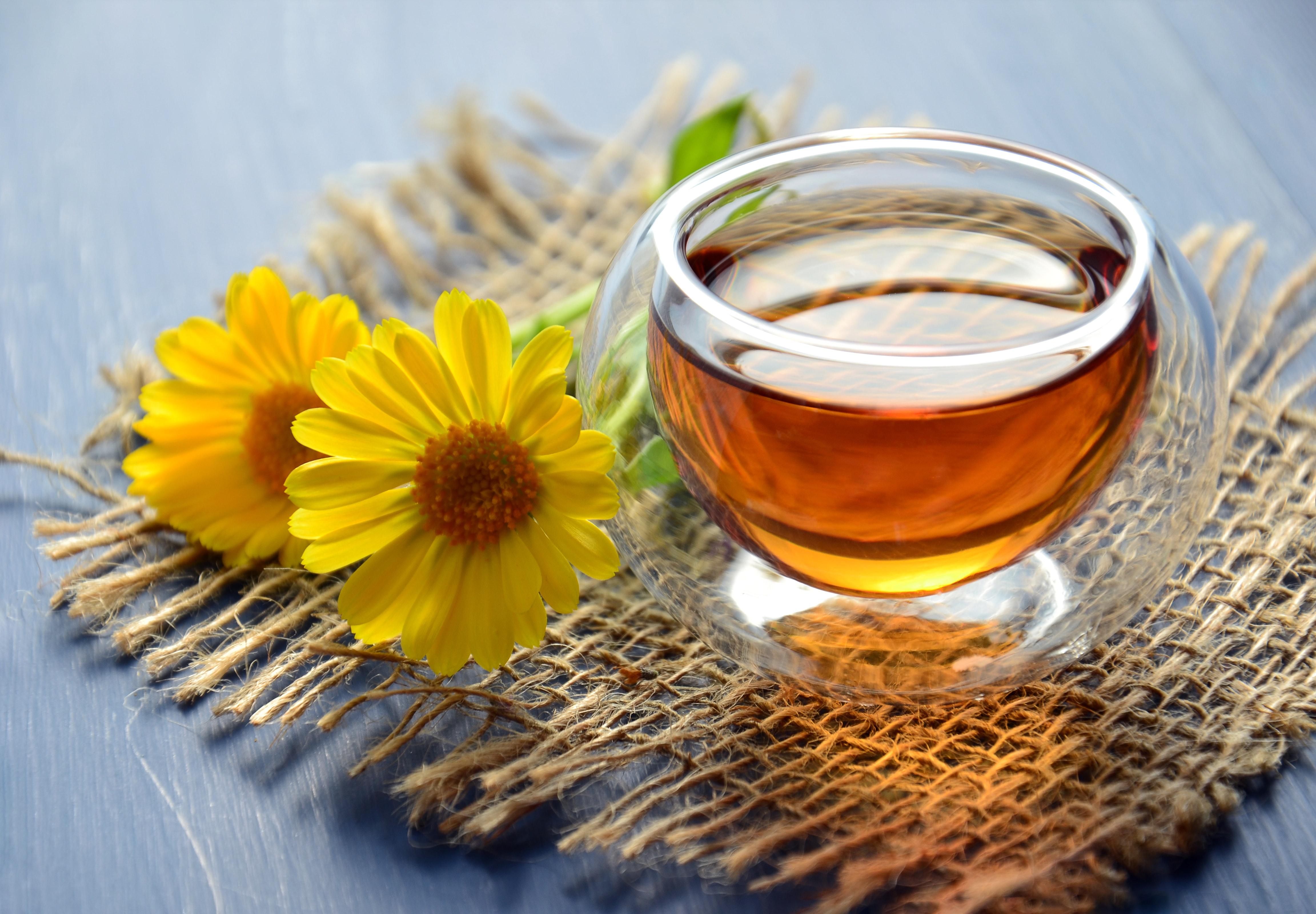 Herbal tea with edible flowers