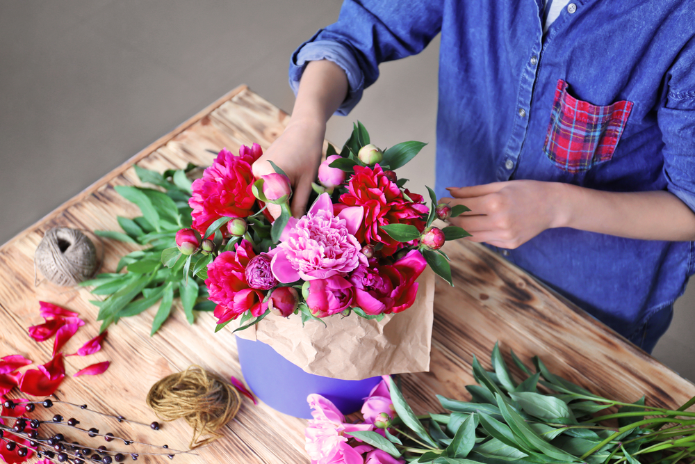 Valentine's Day flowers wrapped in paper
