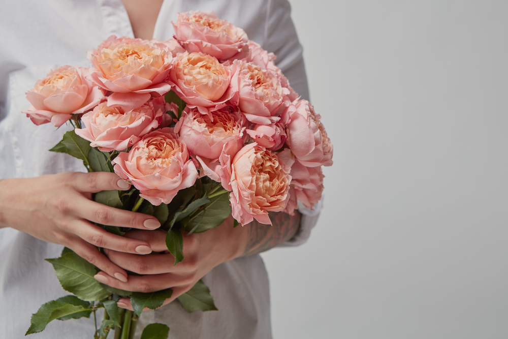 Bouquet of pink roses for Valentine's Day
