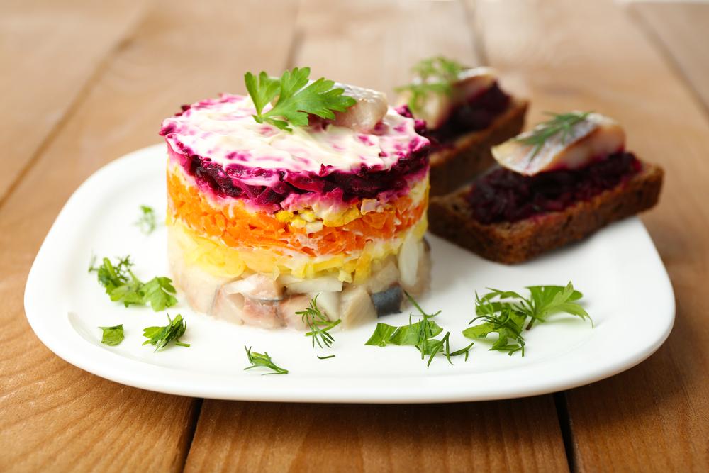 Russian herring salad on Orthodox Christmas
