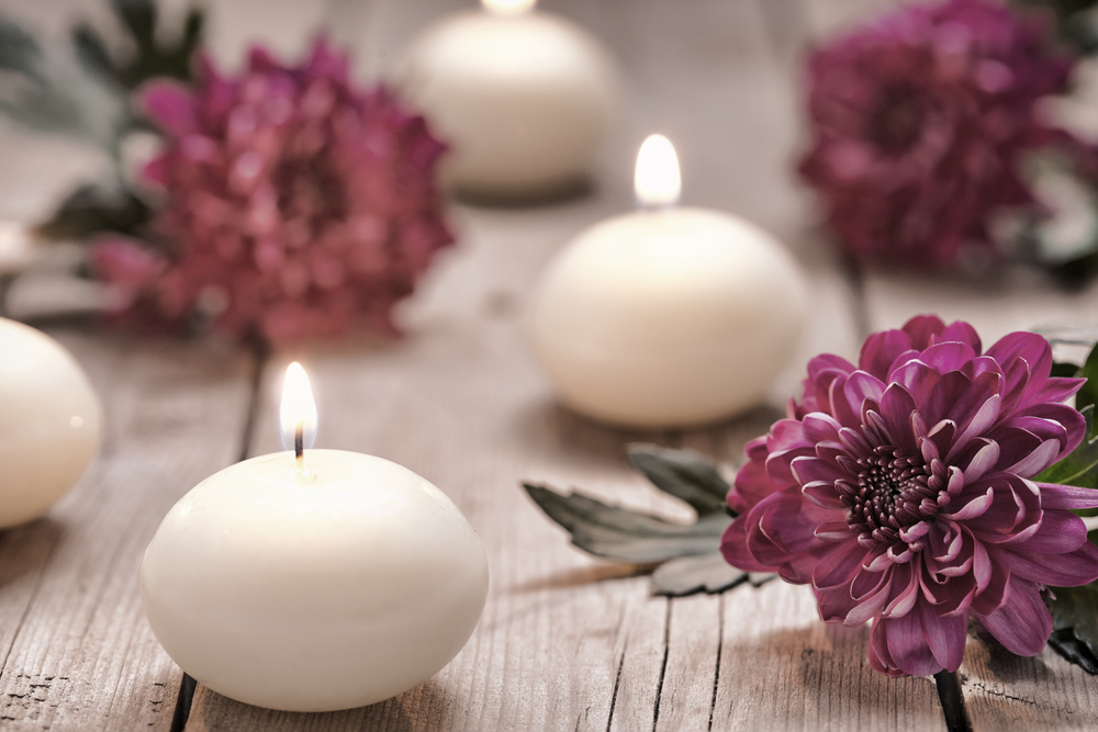 Spa gift with candles and flowers for Women's Day