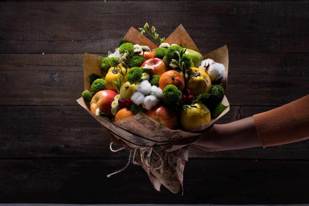 Edible bouquet of vegetables and fruits is a great gift for women