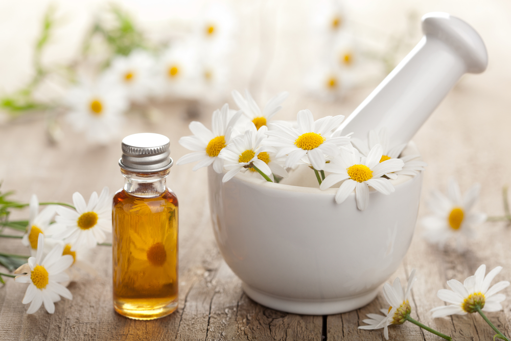 Russia's National Flower: Chamomile -- Essential oil and chamomile flowers in mortar