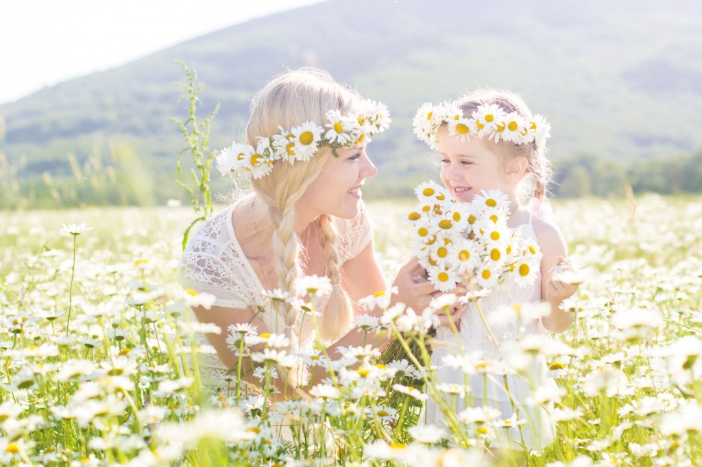 Mother and Daughter With Daisy, Latvia's National Flower